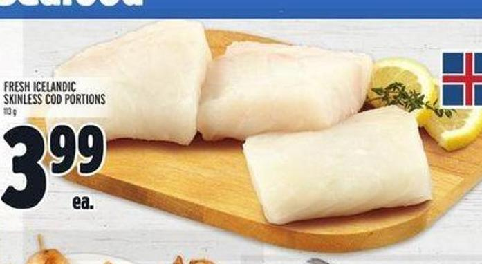 Fresh Icelandic Skinless Cod Portions