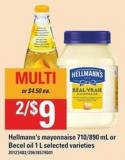Hellmann's Mayonnaise 710-890 Ml - Or Becel Oil 1 L