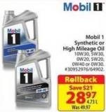 Mobil 1 Synthetic or High Mileage Oil