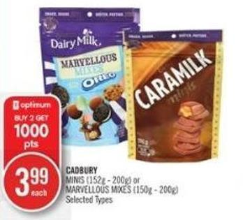 Cadbury Minis (152g - 200g) or Marvellous Mixes (150g - 200g)