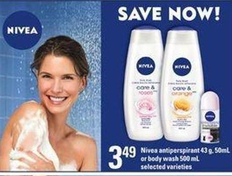Nivea Antiperspirant 43 g - 50ml Or Body Wash 500 mL