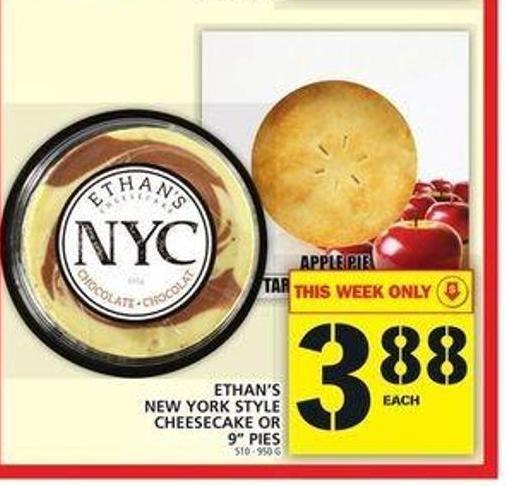 Ethan's New York Style Cheesecake Or 9in Pies