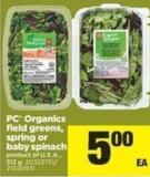 PC Organics Field Greens - Spring Or Baby Spinach - 312 g