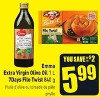 Emma Extra Virgin Olive Oil 1 L 7days Filo Twist 840 g