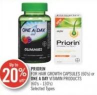 Priorin For Hair Growth Capsules (60's) or One A Day Vitamins Products (60's - 130's)