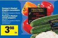 Farmer's Market English Cucumbers - Pkg of 3 Or Farmer's Market Sweet Peppers - Pkg of 4