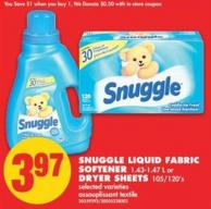 Snuggle Liquid Fabric Softener - 1.43-1.47 L or Dryer Sheets - 105/120's