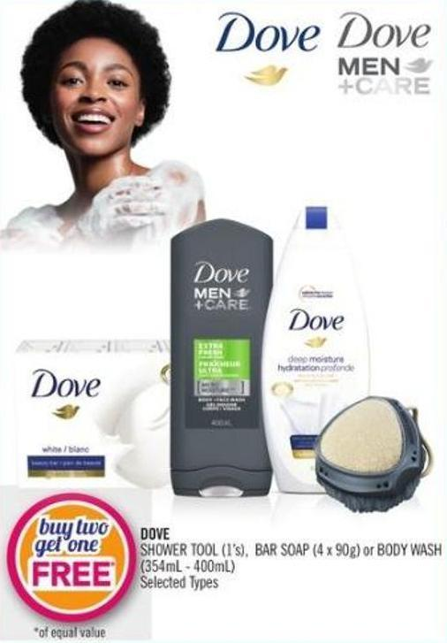 Dove Shower Tool (1's) - Bar Soap (4 X 90g) or Body Wash (354ml - 400ml)