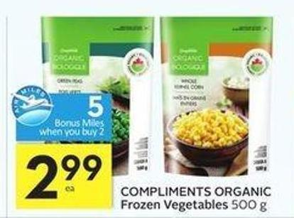 Compliments Organic Frozen Vegetables -5 Air Miles Bonus Miles