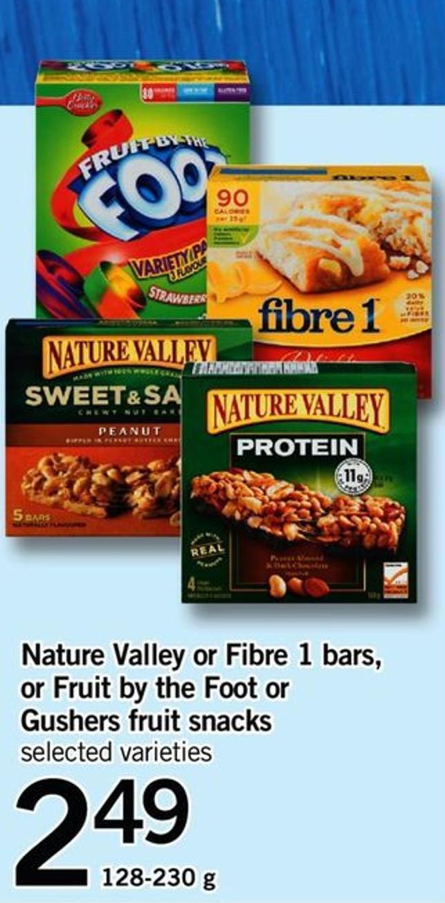 Nature Valley Or Fibre 1 Bars - Or Fruit By The Foot Or Gushers Fruit Snacks - 128-230 G