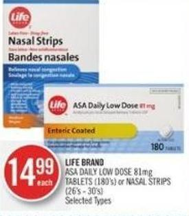 Life Brand Asa Daily Low Dose 81mg Tablets (180's) or Nasal Strips (26's - 30's)