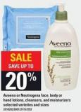 Aveeno Or Neutrogena Face - Body Or Hand Lotions - Cleansers And Moisturizers