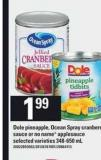 Dole Pineapple - Ocean Spray Cranberry Sauce Or No Name Applesauce Selected Varieties - 348-650 mL