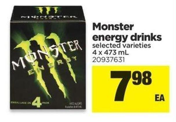 Monster Energy Drinks - 4 X 473 Ml