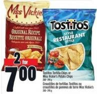 Tostitos Tortilla Chips or Miss Vickie's Potato Chips