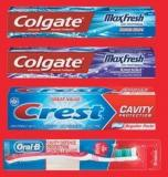 Colgate Or Crest Toothpaste - 50-100 Ml - Colgate Or Oral-b Toothbrush - 1's
