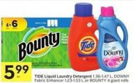 Tide Liquid Laundry Detergent 1.36-1.47 L - Downy Fabric Enhancer 1.23-1.53 L or Bounty 4 Giant Rolls