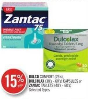 Dulco Comfort (25's) - Dulcolax (30's - 60's) Capsules or Zantac Tablets (48's - 60's)