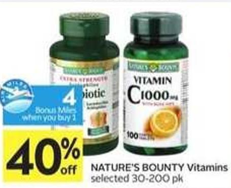 Nature's Bounty Vitamins-4 Air Miles Bonus Miles