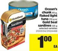Ocean's Chunk - 85 G - Flaked Light Tuna - 170 G Or Gold Seal Sardines - 125 G