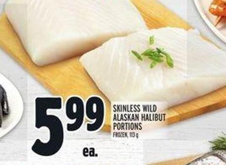 Skinless Wild Alaskan Halibut Portions