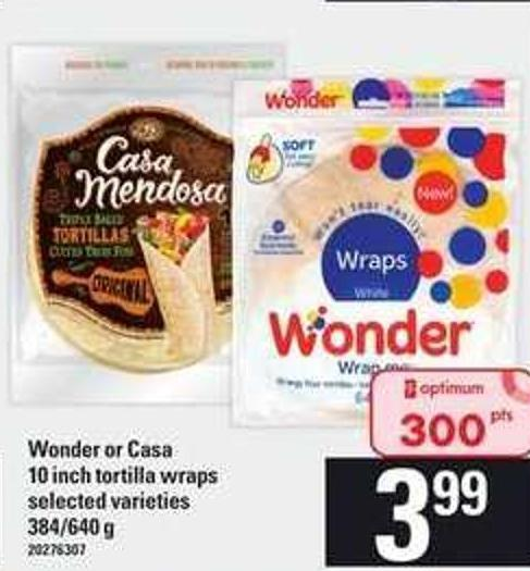 Wonder Or Casa 10 Inch Tortilla Wraps - 384/640 g