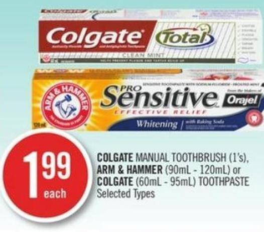 Colgate Manual Toothbrush (1's) - Arm & Hammer (90ml - 120ml) or Colgate (60ml - 95ml) Toothpaste