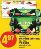 Yoplait Source 16x100 g or Danone Activia 12 X 100 g Yogurt