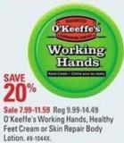 O'keeffe's Working Hands - Healthy Feet Cream or Skin Repair Body Lotion