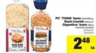 PC Thins Buns 400/480 G - Naan Rounds 480 G Or Gigantico Buns 568 G