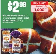 PC Hot Cross Buns - 8's Or Cinnamon Raisin Thick Sliced Bread - 675 G