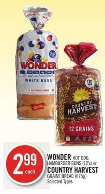 Wonder Hot Dog - Hamburger Buns (12's) or Country Harvest Grains Bread (675g)