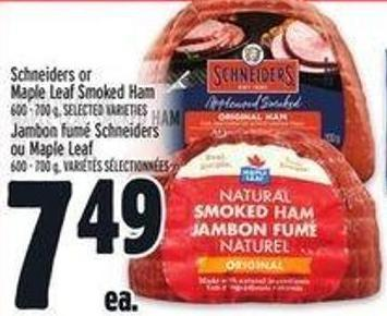 Schneiders or Maple Leaf Smoked Ham