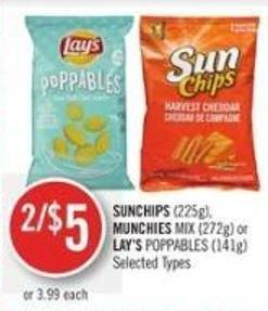 Sunchips (225g) - Munchies Mix (272g) or Lay's Poppables (141g)