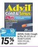 Advil Cold - Cough & Flu 18-20 Pk or Robitussin 100-115 mL Selected- 10 Air Miles