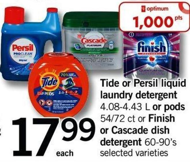 Tide Or Persil Liquid Laundry Detergent - 4.08-4.43 L Or PODS - 54/72 Ct Or Finish Or Cascade Dish Detergent 60-90's