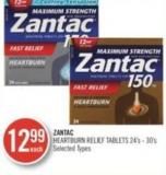 Zantac Heartburn Relief Tablets 24's - 30's