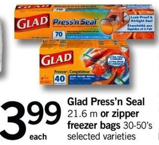 Glad Press'n Seal - 21.6 M Or Zipper Freezer Bags - 30-50's