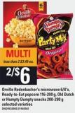 Orville Redenbacher's Microwave 6/8's - Ready To Eat Popcorn - 116-200 G - Old Dutch Or Humpty Dumpty Snacks - 200-290 G