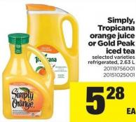 Simply - Tropicana Orange Juice Or Gold Peak Iced Tea - 2.63 L