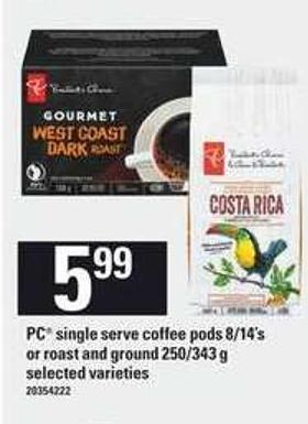 PC Single Serve Coffee PODS 8/14's Or Roast And Ground 250/343 G