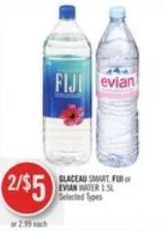 Glaceau Smart - Fiji or Evian Water 1.5l