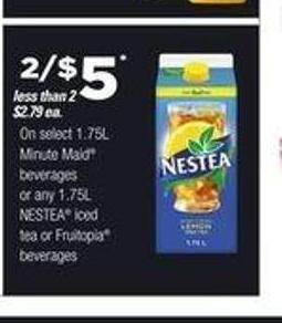 Select Minute Maid - 1.75l Beverages Or Any Nestea Iced Tea - 1.75l Or Fruitopia Beverages