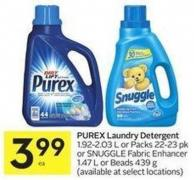 Purex Laundry Detergent 1.92-2.03 L or Packs 22-23 Pk or Snuggle Fabric Enhancer 1.47 L or Beads 439 g