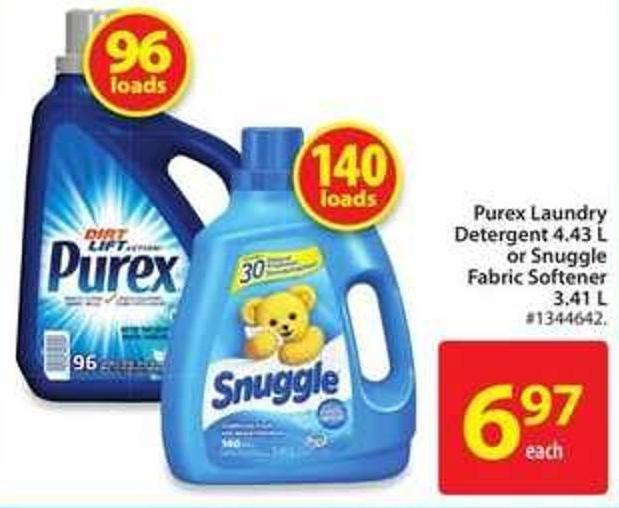 Purex Laundry Detergent 4.43 L or Snuggle Fabric Softener 3.41 L