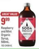 Sodastream Raspberry and Min Organic Syrup - 500ml