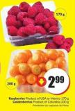 Raspberries Product of USA or Mexico 170 g Goldenberries Product of Columbia 200 g