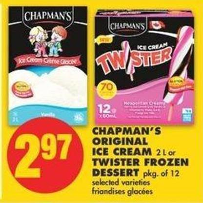 Chapman's Original Ice Cream 2 L Or Twister Frozen Dessert Pkg Of 12