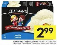 Chapman's Original Ice Cream 2 L Brick or Collection Novelties - Yogurt Bars - Twisters or Super Lolly 8-28 Pk