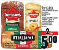 Dempster's Bagels - Whole Grain Breads - D'italiano Breads And Buns